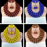 Classic African Costume Beaded <b>Jewelry</b> Set <b>Handmade</b> 3 Layers Nigerian Beads Wedding Jewellry Set Free Shipping