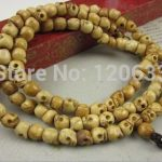 108 grains of natural bone carved skulls beads rosary <b>necklaces</b> wholesale women's <b>jewelry</b>