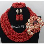 Luxury 3 Layers <b>Handmade</b> Red Crystal Bridal Necklace <b>Jewelry</b> Set African Beads <b>Jewelry</b> Set Choker <b>Jewelry</b> Free Shipping ABF586