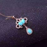 natural green turquoise stone pendant S925 <b>silver</b> Natural Gemstone Pendant Necklace Fashion elegant Round bell fan women <b>jewelry</b>