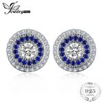 JewelryPalace 1.3ct Round Created Blue Sapphire Cubic Zirconia Stud <b>Earrings</b> 925 Sterling <b>Silver</b> Vintage Jewelry 2017 Fashion