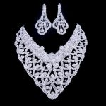 2016 New Austrian Crystal Jewelry Set <b>Silver</b> Necklace <b>Bracelet</b> For Women Pendientes Juego De Collar Bride Wedding Collier #N089
