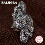 BALMORA 925 Sterling Silver Mosaic Rings for Women Mother Gift Delicate Flower Ring Thai Silver Fashion <b>Jewelry</b> Gift MKS20303