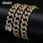 JINAO Hip Hop New Style Male Micro Pave Cubic Zircon <b>Necklace</b> All Iced Out Gold Color Bling <b>Jewelry</b> Cuban Chain20″ 24″ 30″Length