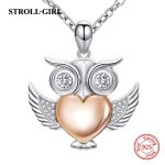 2018 sterling silver 925 cute owl pendant chain necklace with rose gold color heart diy fashion <b>jewelry</b> <b>making</b> for women gifts