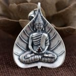 FNJ 925 Silver Buddha Pendant New Fashion Red Zircon 100% Pure S925 Solid Thai Silver Pendants for Women Men <b>Jewelry</b> <b>Making</b>
