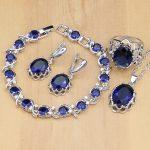 925 <b>Silver</b> Jewelry Sets Blue Stone White Crystal Beads Jewelry For Women Wedding Earrings/Pendant/Rings/<b>Bracelet</b>/Necklace Set
