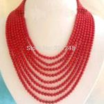 Charming 8 rows red orange artificial coral round beads high quality woman round beads necklace <b>jewelry</b> <b>making</b> 15inch BV370