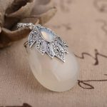 FNJ 925 Silver Pendant Natural White Yellow Chalcedony 100% Pure S925 Solid Thai Silver Pendants for Women Men <b>Jewelry</b> <b>Making</b>