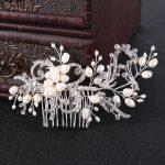 Gold*Silver Vintage Hair <b>Jewelry</b> New Freshwater Pearls Wedding Hair Comb Handmade Crystal Pearls Bride Hair Accessories FS009