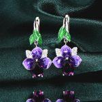 RainMarch Blue Flower Ethnic Enamel Earrings For Women 925 Sterling Silver Engagement Earring Cubic Zirconia Party <b>Jewelry</b>