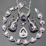 4PCS Nickle Free <b>Silver</b> 925 Purple CZ White Rhinestones Jewelry Sets <b>Bracelets</b>/Earrings/Pendant/Necklace/Rings For Women