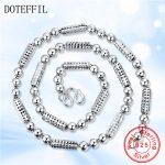 DOTEFFIL 925 <b>Sterling</b> <b>Silver</b> <b>Jewelry</b> Men Necklace Classic Domineering Scrub Beads Solid <b>Silver</b> Chain Necklace <b>Jewelry</b>