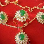 wholesale choker <b>jewelry</b> sets for women anime Wedding Green gem Crystal Pendant Earrings Ring Necklace