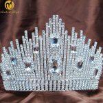 Fantastic Wedding Bridal Tiara Miss Beauty Pageant Crown Clear Rhinestones Crystals Large Headband Hair <b>Jewelry</b>