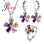 Jemmin Lovely Flower Women Girls Party Crystal Jewelry Set 925 Sterling <b>Silver</b> Necklace <b>Earrings</b> Set Holiday Gift Wholesale