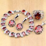 925 Sterling <b>Silver</b> Jewelry Red Zircon White CZ Jewelry Sets For Wedding Earrings/Pendant/Necklace/Rings/<b>Bracelet</b>