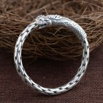 925 <b>Silver</b> Dragon Head Bangle Fashion Simple Vintage Open Size Diameter 58mm 100% S925 <b>Sterling</b> <b>Silver</b> Bangles for Men <b>Jewelry</b>