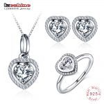 LZESHINE Romantic 925 Sterling Silver Wedding <b>Jewelry</b> For Women Sparkling CZ Heart Shape <b>Necklace</b>/Ring/Stud Earrings Sets Gift