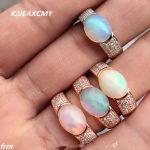 KJJEAXCMY Fine <b>jewelry</b> Fine 925 <b>sterling</b> <b>silver</b> inlay natural Opal female ring wholesale
