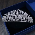 High Quality Bride Tiaras and Crowns <b>Silver</b> Color Hair Crown Full Cubic Zirconia Flower Large Queen Crown Wedding Hair <b>Jewelry</b>