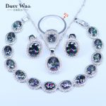 Trendy 4 Piece Natural Rainbow Oval Stone Ring Earrings And Pendants <b>Bracelets</b> <b>Silver</b> 925 Mark Jewelry Set For Women Shine Gift