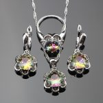 3PCS 925 Sterling Silver Ladies Round Women Magic Rainbow CZ <b>Jewelry</b> Sets Wedding <b>Jewelry</b> With Pendant/Necklace/Ring/Earrings