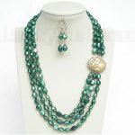 Prett Lovely Women's Wedding fast shipping>> 3row 12mm baroque green pearls necklace dangle Earrings set j8548