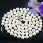 White pearl long necklace 8-9mm fish shape buttons 35 inches DIY Beaded Women hot sale <b>Jewelry</b> <b>making</b> design necklace