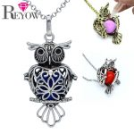 Chime Ball/Glow Beads Pendant Womens Aromatherapy <b>Jewelry</b> <b>Antique</b> Bronze Heart Owl Locket Essential Oil Diffuser Necklace