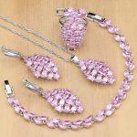 925 Sterling <b>Silver</b> Jewelry Mystic Pink CZ White Zircon Princess Jewelry Sets For Women Earrings/Pendant/Necklace/Ring/<b>Bracelet</b>