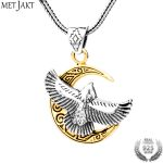 MetJakt Punk Flying Eagle Golden Moon Pendant <b>Necklace</b> Solid 925 Sterling <b>Silver</b> and Snake Chain Men's Personalized Jewelry