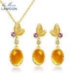 LAMOON classic flower 100% Natural Citrine 925 <b>Sterling</b> <b>Silver</b> <b>Jewelry</b> S925 <b>Jewelry</b> Set V022-2