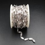 WT-BC086 Beautiful Brass Chain CZ Micro Pave Chain Sliver Plated Chain For Women <b>Jewelry</b> <b>Making</b> Findings 6mm