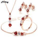 MoBuy Natural Gemstone 4pcs Red Garnet Jewelry Sets 100% 925 Sterling <b>Silver</b> For Women Wedding Classic Fine Jewelry V041EHNR