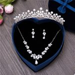 3PCS/Set Cubic Zirconia Wedding Bridal <b>Jewelry</b> Sets Simulated Pearl Zircon Crown <b>Necklace</b> Earring Clips Women Princess Prom Gift