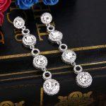 Bella Fashion Circle Round Rhinestone Bridal Earrings Austrian Crystal Dangle Earrings For <b>Wedding</b> Bridesmaid Party <b>Jewelry</b>