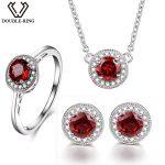 DOUBLE-R Natrual Garnet 2.8ct Jewelry Classic Women Wedding Ring Female Red Stone Round 925 <b>Silver</b> Pendant Necklace <b>Earrings</b> set