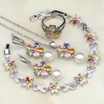 925 Sterling <b>Silver</b> Jewelry Multicolor Cubic Zirconia White Pearls Jewelry Sets For Women Necklace/Earring/<b>Bracelet</b>/Pendant/Ring