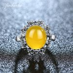 JIASHUNTAI Vintage 925 Sterling Silver Rings Retro Thai Silver Natural Yellow Stone <b>Jewelry</b> For Women The Flower Of Silver