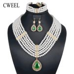CWEEL Imitation Pearl Women <b>Jewelry</b> Sets Dubai Ethiopian Turkish Nigerian African Beads <b>Jewelry</b> Set <b>Wedding</b> Bridal Jewellery