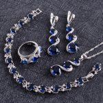 Blue Zircon <b>Silver</b> 925 Wedding Jewelry Sets Women Costume Pendant Necklace Rings <b>Bracelets</b> Earrings With Stones Set Gift Box