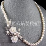 Pearl Necklace , <b>Wedding</b> Bridesmaids Flower Necklace 20.5inch 8-9mm Fashion <b>Jewelry</b> – Free Shipping