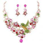 Bella Fashion Pink Hummingbird Flower <b>Jewelry</b> Set Austrian Crystal Rhinestone <b>Necklace</b> Earrings Set For Party <b>Jewelry</b> Gift
