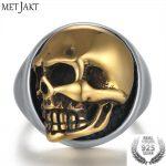 MetJakt Punk Men's Skull Ring Can Move Gold Color Skull Rings Solid 925 <b>Sterling</b> <b>Silver</b> Ring for Cool Biker Men <b>Jewelry</b>
