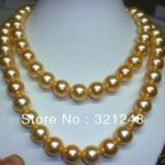 Fashion 8mm gold-color shell simulated-pearl long necklace 36inch round beads <b>jewelry</b> <b>making</b> long rope chain clothes gift MY2009