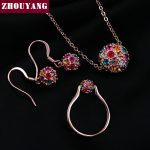 ZYS292 White Crystal Ball <b>Silver</b> Color Jewelry Necklace Earring Ring <b>Bracelet</b> Set Rhinestone Made with Austrian Crystals