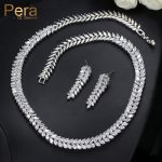 Pera Luxury Bridal Party Choker <b>Necklace</b> And Earrings Big Leaf-Shape Top Cubic Zirconia Wedding <b>Jewelry</b> Sets For Brides J225