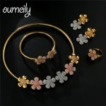 OUMEILY Nigerian Flower Imitation Crystal Jewelry Set For Women Wedding Party Dubai Rose Gold <b>Silver</b> Colo African Jewelry Sets
