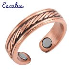 Escalus Ladies <b>Antique</b> Copper Parallel Lines Magnetic Ring Resizable Female Magnets Women <b>Jewelry</b> Charm Finger Wear